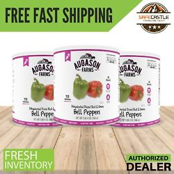 Augason Farms Dehydrated Red And Green Bell Peppers 3 Cans New