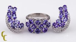 Iolite And Diamond 14k White Gold Earring And Ring Jewelry Set By Sonia B