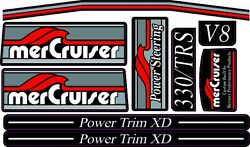 Mercruiser The New Best Quality Red Most Complete Trs W/gray Rams Sticker Set
