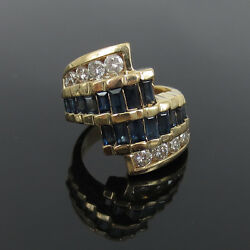 Vintage 1.05ct Diamond And 2.50ct Sapphire 4 Row 14k Yellow Gold Ring
