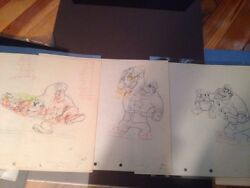 Disney's Donald Duck Autograph Hound 3 Production Drawings In Sequence
