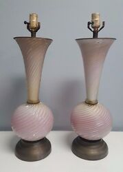 Great Pair Of Mid-century Murano Glass Lamps - Pink Spiral Design /w Gold Flakes