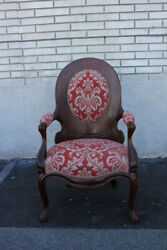 Exquisite Tiger Oak Living Room Side End Accent Armchair New Red Upholstery