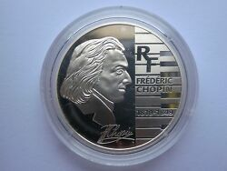 France 1.5 1 1/2 Euro Silver Proof Coin Paris 2005 Frederic Fryderyk Chopin +box