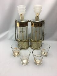 Mid-century Modern Fred Press Rye And Scotch Decanters, Push Pumps, Caddy, 4 Cups