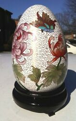 Vintage White And Pink Floral With Butterfly Cloisonne Egg With Wooden Stand