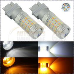2× Dual Color 3157 60SMD White Yellow LED Switchback DRL Turn Signal Light Bulbs