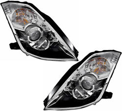 Xenon HID Headlights Assembly w/Bulb NEW Set Pair For 06-09 Nissan 350Z