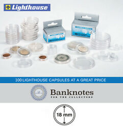 100 Coin Capsules Lighthouse Direct Fit 18mm Holders Us Dimes 1/10 Oz Gold Panda