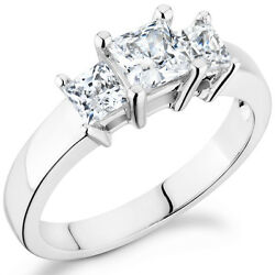 Trinity Princess Cut Ring With 1ct Diamonds Set In 14k White Gold Tp-100w