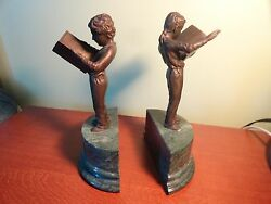 2 Book holders bronze statues on green granite