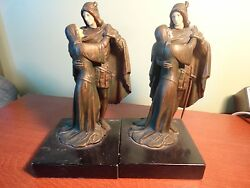2 Book holders bronze statues