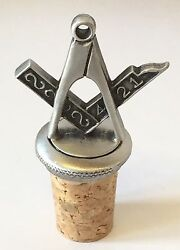 Masonic Crest Hand Crafted Pewter Bottle Stopper Wine Saver