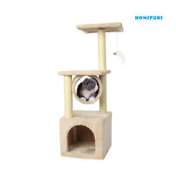 35#x27;#x27; Cat Tree Bed Furniture Scratching Tower Post Condo Kitten Play House Beige