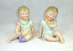 Xxxl Two Big Dolls Children Figures Biscuit China Thuringia About 1900 Rarely