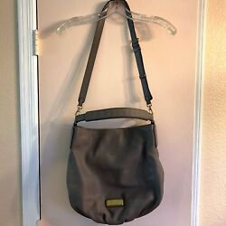 MARC By MARC JACOBS Hillier Q Leather Crossbody Bag Purse Hobo Gray Large * $89.99