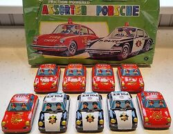 Lot 9 Nib Vintage Porsche 911 912 Collectible Tin Friction Toy Japan Fire Police