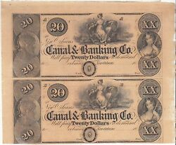1850's 20 New Orleans Canal And Banking Co. 2 Note 1/2 Uncut Sheet 105-g32