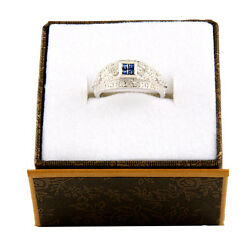 14k White Gold Diamond And Saphire Ring R-61