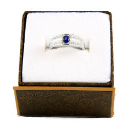 14k White Gold Diamond And Saphire Ring R-94