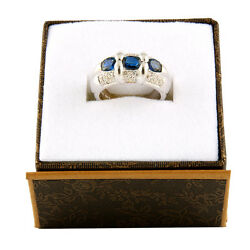 14k White Gold Diamond And Saphire Ring R-55