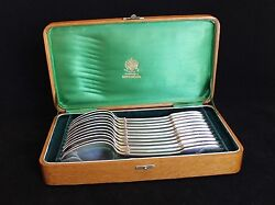 Antique Russian Imperial Silver Set Of 12 Spoons By Ovchinnikov In Original Box