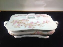 Antique Circa 1885 Marx And Gutherz Carlsbad Austria 1813 Large Serving Dish + Lid