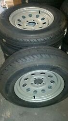 Qty Of 4 St 205 75 D 15 Premium Trailer Tires On 5.0 Bc Silver Mod Wheels