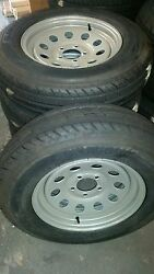 Set Of 4 St225 75d 15 Preminum 8 Ply Trailer Tires On 5.0 Bc Silver Mod Wheels