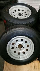Set Of 4 St225 75d15 Premium 8 Ply Trailer Tires On 4 1/2 Bc Silver Mod Wheels