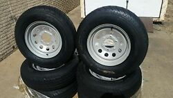 Set Of 4 St225 75d 15 Premium 8 Ply Trailer Tires On 6 Hole Silver Mod Wheels