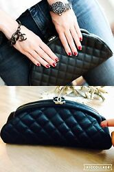 Chanel Classic Clutch Purse Bag Black Quilted