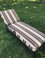 Patio Furniture Vintage Chaise Lounge With New Designer Outdoor Fabric