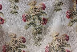 Antique French c1915 20 Rose Woven Heavy Cotton Jacquard Tapestry Valance Fabric