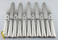 Thomas Bradbury And Sons Sterling Silver Cocktail Forks And Knives Fruit Set