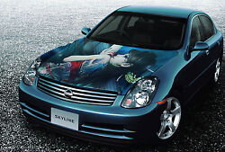 Vinyl Car Hood Wrap Full Color Graphics Decal Japan Sexy Tattooed Girl Sticker