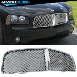 Fits 05-10 Dodge Charger Mesh Chrome Front Grill Bumper Grille Guards