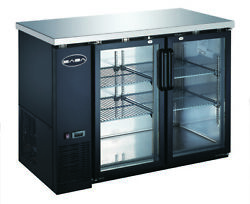 Heavy Duty Black Back Bar Cooler With Two Glass Doors 48''