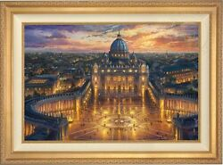 Thomas Kinkade Studios Vatican Sunset 24 X 36 Limited Edition S/n Canvasframed