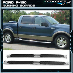 Fits 04-14 F150 Pickup Crew Cab Oval Oe Black Side Step Running Boards 5 Inch