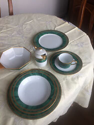 Green Christian Dior Plates, Salad, Soup Bowls And Coffee Cups With Saucers Set