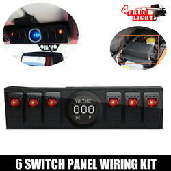 6 Rocker Switch Panel  Pod Bracket With Digital Voltmeter For 07-17 Jeep JK JKU