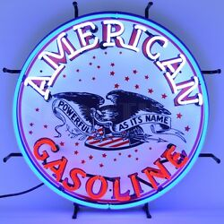 American Gasoline Neon Sign - Gas - Standard Oil - Powerful As Its Name - Amoco