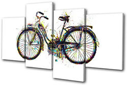Bicycle Bike Retro Colourful Vintage Multi Canvas Wall Art Picture Print