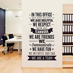 OFFICE RULES quot;WE ARE A TEAMquot; Removable Wall Decal Vinyl Quote Stickers Decor Art
