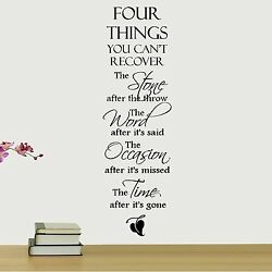 FOUR THINGS YOU CAN#x27;T RECOVER Removable Home Wall Decal Vinyl Quote Decor