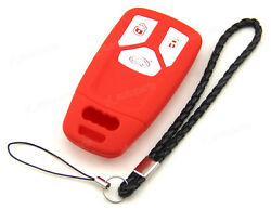 Red Silicone Case Cover For Audi A4 Q5 Q7 TT TTS 16 17 Remote Smart Key 3 Button