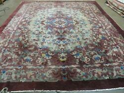 8and039x 10and039 Vintage Hand Made Chinese Art Deco Peking Nichols Wool Rug Flowers Nice