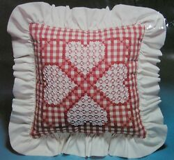 Chicken Scratch Kit 3101 Hearts Cross Stitch Embroidery Pillow Valiant Crafts