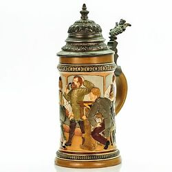 Hr Hauber And Reuther 458 Antique German Mug Lidded Beer Stein - Bowling Ca.1890s